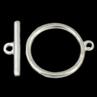 Zinklegierung Knebelverschluss, Kreisring, antik silberfarben plattiert, Einzelstrang, frei von Blei & Kadmium, 23x27x1.5mm, 23x7x2mm, Bohrung:ca. 2mm, 20SetsSatz/Tasche, verkauft von Tasche