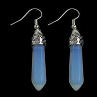 Opal Tropfen Ohrring, mit Messing, Pendel, Platinfarbe platiniert, frei von Nickel, Blei & Kadmium, 7x35x6.5mm, 53mm, 10PaarePärchen/Menge, verkauft von Menge