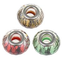 Harz Europa, Rondell, Platinfarbe platiniert, Messing-Dual-Core ohne troll & facettierte, keine, 14x9mm, Bohrung:ca. 5mm, 100PCs/Tasche, verkauft von Tasche