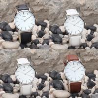 Damen Armbanduhr, Zinklegierung, mit PU Leder & Glas, Platinfarbe platiniert, einstellbar & für Frau, keine, frei von Nickel, Blei & Kadmium, 40mm, 20mm, Länge:ca. 8 ZollInch, verkauft von PC