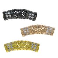 Befestigte Zirkonia Perlen, Messing, gebogenes Rohr, plattiert, Micro pave Zirkonia & hohl, keine, frei von Nickel, Blei & Kadmium, 20x5.50x6mm, Bohrung:ca. 2.5mm, verkauft von PC
