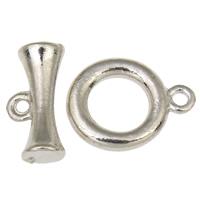 Zinklegierung Knebelverschluss, Kreisring, antik silberfarben plattiert, Einzelstrang, frei von Blei & Kadmium, 16.5x21x3mm, 19.5x9.5x7mm, Bohrung:ca. 2mm, 20SetsSatz/Tasche, verkauft von Tasche