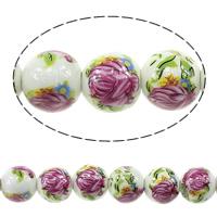 Kunstdruck Porzellan Perlen, rund, mit Blumenmuster, 12mm, Bohrung:ca. 3mm, Länge:ca. 13.5 ZollInch, 5SträngeStrang/Menge, ca. 30PCs/Strang, verkauft von Menge