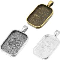 Zink-Legierung Cabochon Weissgold, Zinklegierung, Rechteck, plattiert, keine, frei von Nickel, Blei & Kadmium, 22.08x41.10mm, Bohrung:ca. 4.5mm, Innendurchmesser:ca. 20x30mm, 100PCs/Menge, verkauft von Menge