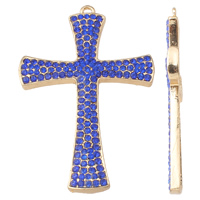 Zinklegierung Kreuz Anhänger, goldfarben plattiert, mit Strass, royalblau, frei von Nickel, Blei & Kadmium, 47x72x5mm, Bohrung:ca. 2.5mm, verkauft von PC