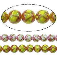 Goldsand Lampwork Perlen, rund, keine, 10mm, Bohrung:ca. 1.5mm, Länge:ca. 13.5 ZollInch, 3SträngeStrang/Menge, ca. 35PCs/Strang, verkauft von Menge