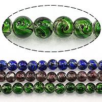 Goldsand Lampwork Perlen, rund, keine, 10mm, Bohrung:ca. 1.5mm, Länge:ca. 13 ZollInch, 5SträngeStrang/Menge, ca. 34PCs/Strang, verkauft von Menge