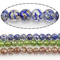 Goldsand Lampwork Perlen, rund, keine, 11mm, Bohrung:ca. 2.5mm, Länge:ca. 13.5 ZollInch, 3SträngeStrang/Menge, ca. 35PCs/Strang, verkauft von Menge