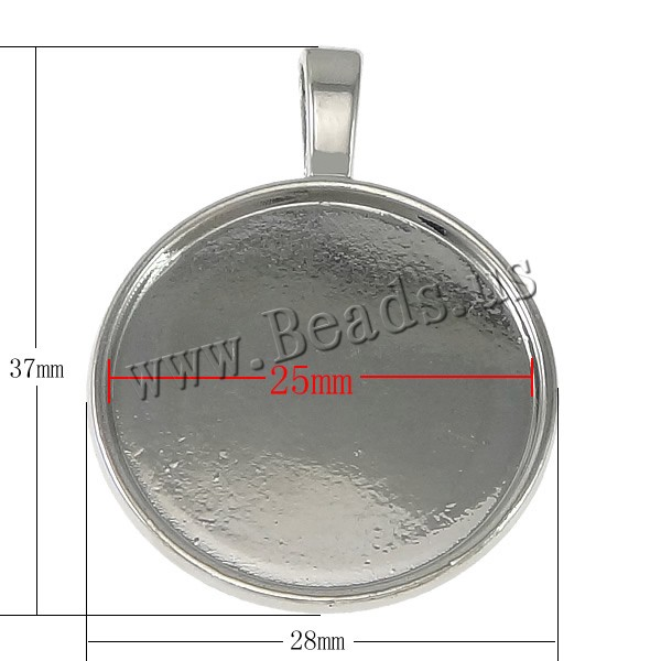 Buy Zinc Alloy Pendant Cabochon Setting Flat Round platinum color plated nickel lead & cadmium free 28x37x1.50mm Hole:Approx 3.5x6mm Inner Diameter:Approx 25mm 10 Sold Lot