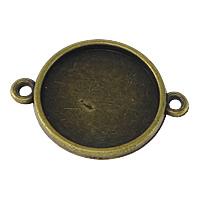 Zinklegierung Schmuckverbinder Einstellung, flache Runde, antike Bronzefarbe plattiert, 1/1-Schleife, frei von Nickel, Blei & Kadmium, 28x21x2mm, Bohrung:ca. 2mm, Innendurchmesser:ca. 18mm, 200PCs/Menge, verkauft von Menge