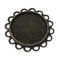 Messing Cabochon Einstellungen, Blume, antike Bronzefarbe plattiert, frei von Nickel, Blei & Kadmium, 25x25x2mm, Innendurchmesser:ca. 18mm, 100PCs/Menge, verkauft von Menge