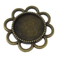 Zinklegierung Cabochon Einstellung, Blume, antike Bronzefarbe plattiert, frei von Nickel, Blei & Kadmium, 24x24x2mm, Innendurchmesser:ca. 14mm, 200PCs/Menge, verkauft von Menge