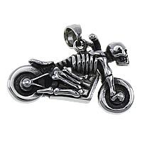 Edelstahl Schmuck Anhänger, Motorrad, mit Totenkopf-Muster & Schwärzen, 35x23x11.50mm, Bohrung:ca. 5x6mm, 6PCs/Menge, verkauft von Menge