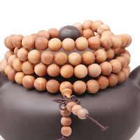 108 Mala Perlen, Sandelholz, mit elastischer Faden, buddhistischer Schmuck & verschiedene Größen vorhanden & 4-Strang, 10SträngeStrang/Menge, 108PCs/Strang, verkauft von Menge