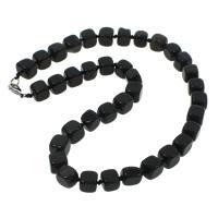 Schwarzer Achat Halskette, Zinklegierung Karabinerverschluss, Würfel, natürlich, 9-12mm, verkauft per ca. 18.5 ZollInch Strang