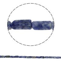 Blauer Tupfen Stein Perlen, blauer Punkt, Rechteck, natürlich, 6x12x4mm, Bohrung:ca. 1.5mm, ca. 33PCs/Strang, verkauft per ca. 15.7 ZollInch Strang