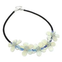 Meer Opal Halskette, mit Polyester, Zinklegierung Karabinerverschluss, mit Verlängerungskettchen von 5cm, Blume, 40x12mm, verkauft per ca. 18 ZollInch Strang