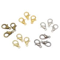 Zinklegierung Karabinerverschluss, plattiert, keine, frei von Nickel, Blei & Kadmium, 7x12x3mm, Bohrung:ca. 1mm, 100PCs/Tasche, verkauft von Tasche