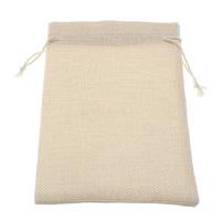 Leinen Kordelzugbeutel, mit Nylonschnur, Rechteck, beige, 120x160x3mm, 100PCs/Tasche, verkauft von Tasche