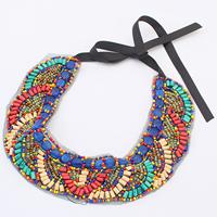 Kragen Halskette, Ripsband, mit Gaze & Glas-Rocailles & Holz & Harz, 45mm, verkauft per ca. 37.7 ZollInch Strang