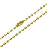 Halskette, Edelstahl, goldfarben plattiert, Kugelkette, 2.50mm, Länge:ca. 24 ZollInch, 10SträngeStrang/Menge, verkauft von Menge