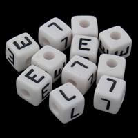 Alphabet Acryl Perlen, Würfel, verschiedene Muster für Wahl & mit Brief Muster & Volltonfarbe, weiß, 10x10mm, Bohrung:ca. 3mm, ca. 625PCs/Tasche, verkauft von Tasche