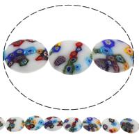 Millefiori Glasperlen, Glas Millefiori, flache Runde, handgemacht, verschiedene Größen vorhanden, Bohrung:ca. 1mm, Länge:ca. 14.2 ZollInch, verkauft von Tasche