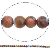 Goldsand Millefiori Glasperlen, rund, handgemacht, verschiedene Größen vorhanden, Bohrung:ca. 1mm, Länge:ca. 14.5 ZollInch, verkauft von Tasche