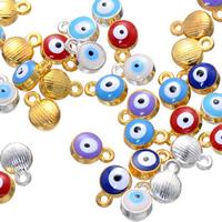 Evil Eye Anhänger, Zinklegierung, blöser Blick, plattiert, Emaille, keine, frei von Nickel, Blei & Kadmium, 7x10mm, Bohrung:ca. 1.6mm, 500PCs/Menge, verkauft von Menge