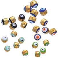 Zink Legierung Evil Eye Perlen, Zinklegierung, blöser Blick, goldfarben plattiert, Emaille, keine, frei von Nickel, Blei & Kadmium, 5mm, Bohrung:ca. 1mm, 500PCs/Menge, verkauft von Menge