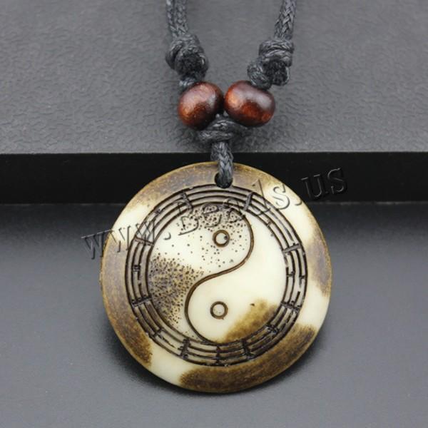 Resin Pendant Flat Round imitation ox bone & ying yang 40x40x6mm Hole:Approx 2mm 1 Sold Lot