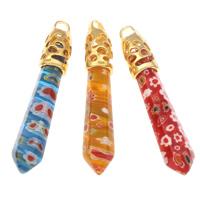 Millefiori Glas Anhänger Schmuck, Glas Millefiori, mit Zinklegierung Stiftöse, Pendel, goldfarben plattiert, keine, 10x64mm-12x68mm, Bohrung:ca. 4x5mm, 20PCs/Tasche, verkauft von Tasche