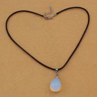 Meer Opal Halskette, mit Gewachste Hanfschnur & Messing, Zinklegierung Karabinerverschluss, mit Verlängerungskettchen von 5cm, Tropfen, 17x24mm, 3mm, Länge:ca. 17 ZollInch, 5SträngeStrang/Tasche, verkauft von Tasche