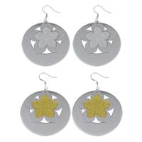 Edelstahl Tropfen Ohrring, flache Runde, mit Blumenmuster & Falten, keine, 47x64x1mm, verkauft von Paar