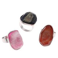 Druzy Finger Ring, Eisquarz Achat, mit Messing, Platinfarbe platiniert, natürliche & druzy Stil & einstellbar & gemischt, 16x10mm-16x32x13mm, Größe:8, 20PCs/Tasche, verkauft von Tasche