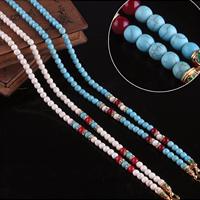 Buddhistischer Schmuck Halskette, Synthetische Türkis, mit Zinklegierung, goldfarben plattiert, Emaille & mit Strass, keine, frei von Nickel, Blei & Kadmium, 6mm, Länge:ca. 29.5 ZollInch, 10SträngeStrang/Menge, verkauft von Menge