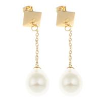 Edelstahl Tropfen Ohrring, mit ABS-Kunststoff-Perlen, goldfarben plattiert, 13x54mm, verkauft von Paar
