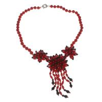Natürliche Koralle Halskette, mit Süßwassermuschel & Kristall, Messing Federring Verschluss, facettierte, rot, 41x17mm, verkauft per ca. 18 ZollInch Strang