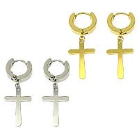 Huggie Hoop Drop Ohrringe, Edelstahl, Kreuz, plattiert, keine, 38mm, 14x21x1mm, 14x15x2.5mm, verkauft von Paar