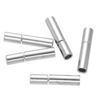 Messing Bajonettverschluss, Edelstahl, Zylinder, Platinfarbe platiniert, frei von Nickel, Blei & Kadmium, 3x14mm, Bohrung:ca. 2mm, 100PCs/Menge, verkauft von Menge