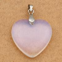 Opal Anhänger, mit Messing Stiftöse, Herz, Platinfarbe platiniert, 25x25x6mm, Bohrung:ca. 3x4mm, 10PCs/Tasche, verkauft von Tasche