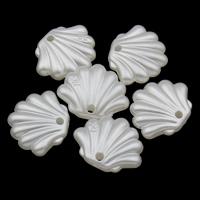 ABS-Kunststoff-Perlen Anhänger, Schale, weiß, 19x16x5mm, Bohrung:ca. 1mm, 2Taschen/Menge, ca. 710PCs/Tasche, verkauft von Menge