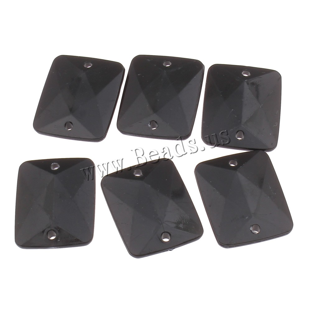 Sew Stone Acrylic Rectangle faceted & solid color black 20x25x4mm Hole:Approx 2mm 2Bags/Lot Approx 310PCs/Bag Sold Lot