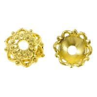 Messing Perlenkappe, Blume, vergoldet, hochwertige Beschichtung und nie verblassen, frei von Nickel, Blei & Kadmium, 8x8x1mm, Bohrung:ca. 2mm, 100PCs/Menge, verkauft von Menge
