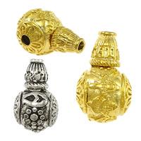 Messing 3-Loch-Guru-Perlen-Set, rund, plattiert, buddhistischer Schmuck & om mani padme hum & verschiedene Größen vorhanden & verschiedene Muster für Wahl, frei von Nickel, Blei & Kadmium, 20PCs/Menge, verkauft von Menge