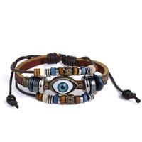 Evil Eye Schmuck Armband, Kuhhaut, mit Gewachsten Baumwollkordel & Zinklegierung, blöser Blick, plattiert, einstellbar & 3-Strang, 28x14mm, Bohrung:ca. 4x7mm, Länge:ca. 7-14 ZollInch