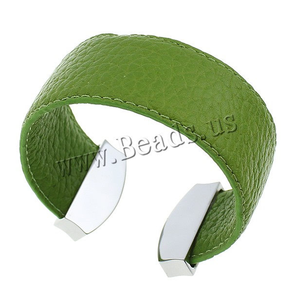 Buy PU Leather Cuff Bangle Stainless Steel green nickel lead & cadmium free 28mm 13x32x7mm Inner Diameter:Approx 56x51mm Length:Approx 6.2 Inch Sold Lot