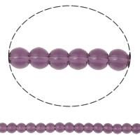 Runde Kristallperlen, Kristall, violett, 4mm, Bohrung:ca. 1mm, Länge:10.5 ZollInch, 10SträngeStrang/Tasche, verkauft von Tasche