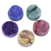 Druzy Beads, Eisquarz Achat, flache Runde, natürlich, druzy Stil & halbgebohrt, gemischte Farben, 20x10mm, Bohrung:ca. 1.5mm, 30PCs/Tasche, verkauft von Tasche