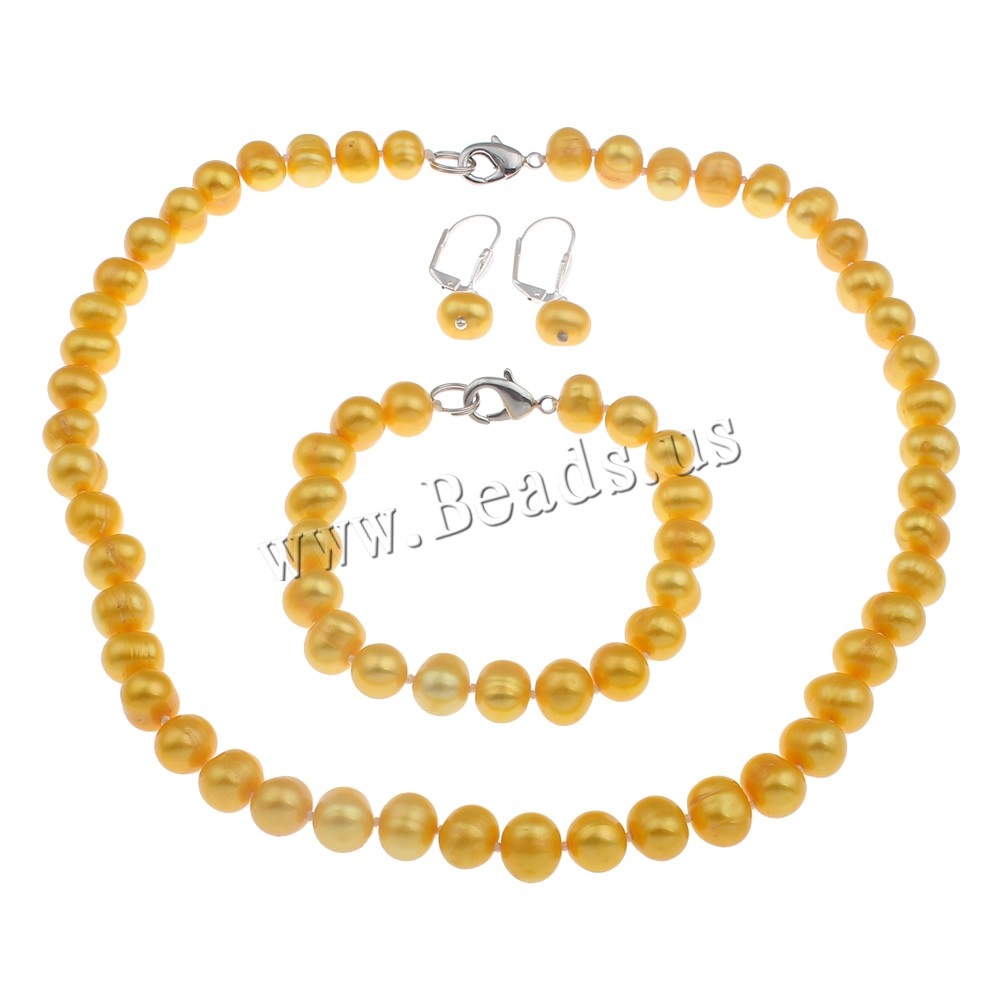 Buy Natural Cultured Freshwater Pearl Jewelry Sets bracelet & earring & necklace brass clasp iron earring lever back clip Potato different styles choice orange 9-10mm Length:Approx 7.5 Inch Approx 17.00 Inch Sold Set